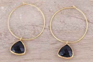 a pair of hoop earrings
