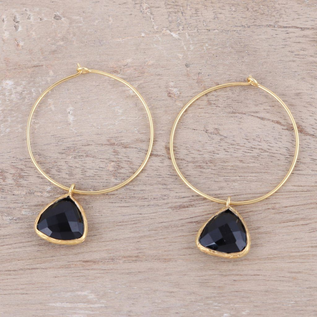 Elegant Embrace 18k Gold Plated Onyx Hoop Dangle Earrings from India