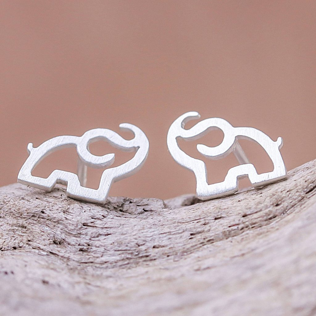 Elephant Trumpet Sterling Silver Elephant Stud Earrings from Thailand Practical an Versatile
