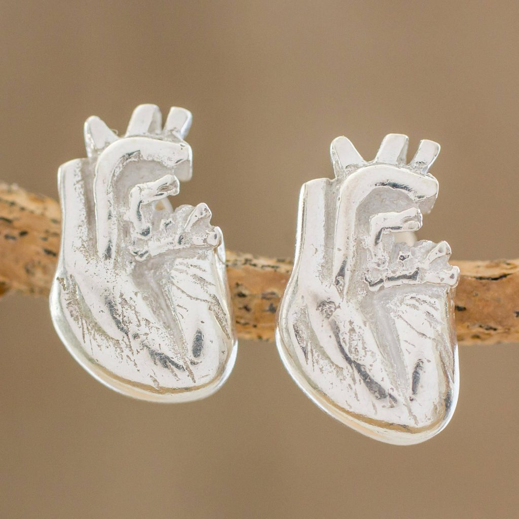 True Heart Handcrafted Sterling Silver Anatomical Heart Button Earrings Valentine's Day Gifts