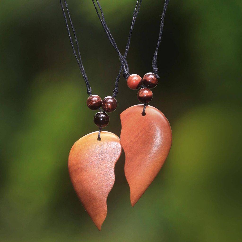 'Shared Heart' Matching Heart Halves Wood Pendant Necklaces (Pair) Valentine's Day Gifts