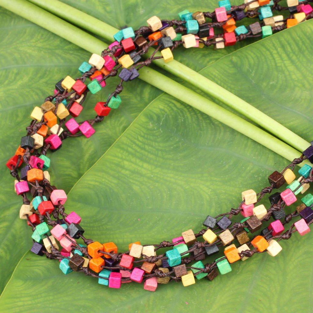"Artisan Crafted Multicolor Wood Beaded Torsade Necklace, ""Petchaburi Belle"""