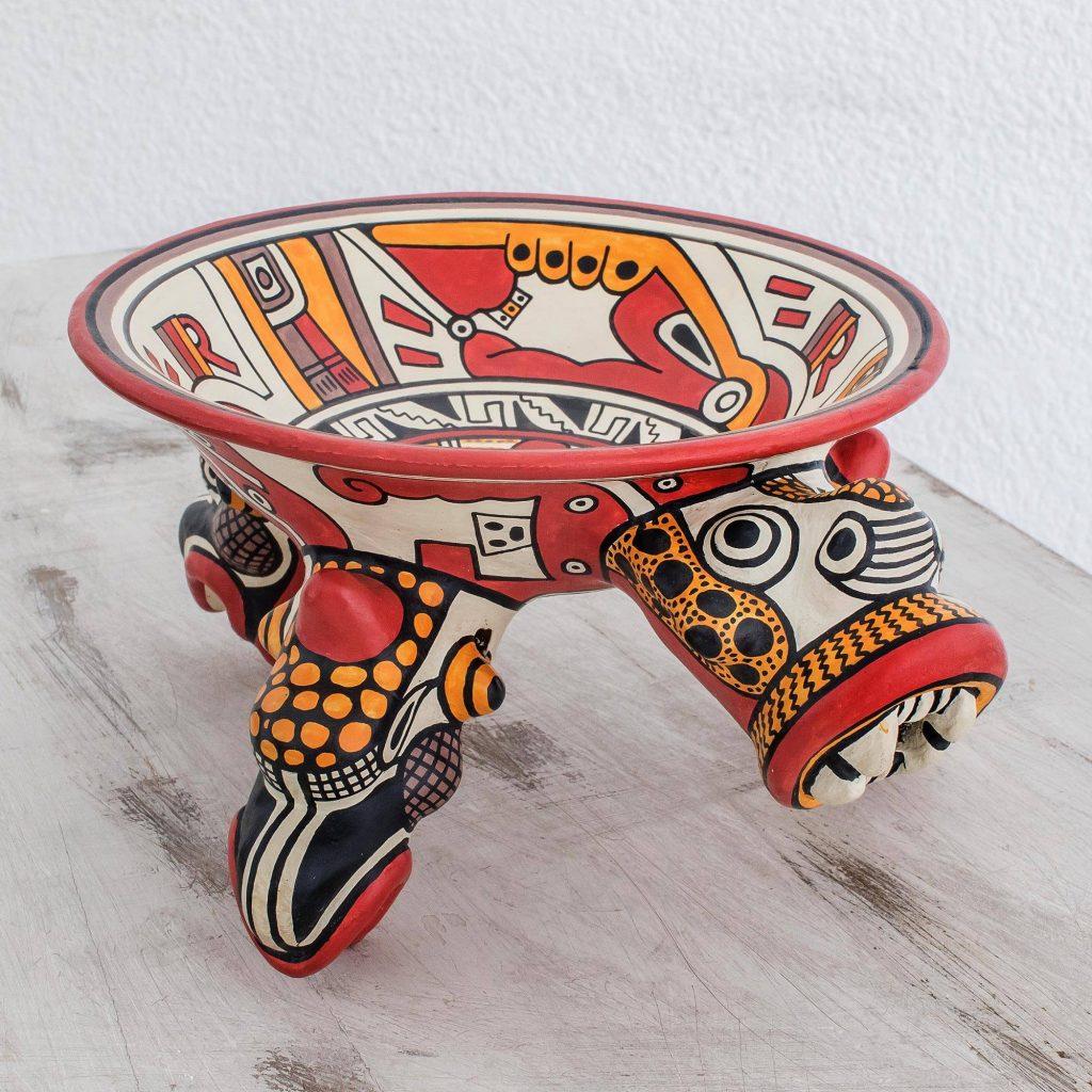 Balam the Jaguar Ceramic Archaeological Replica Vessel