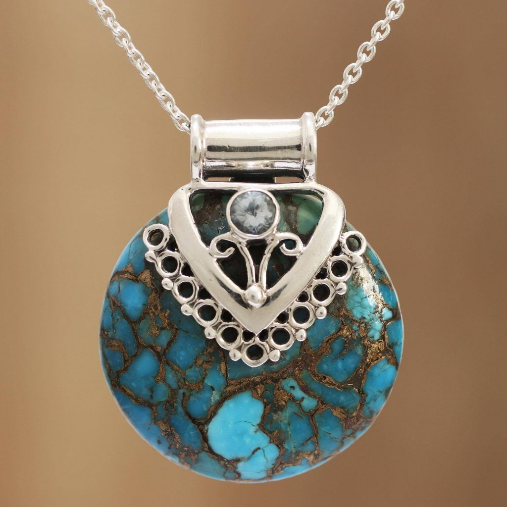 "Blue Topaz and Composite Turquoise Sterling Silver Necklace, ""Ocean's Glory"""