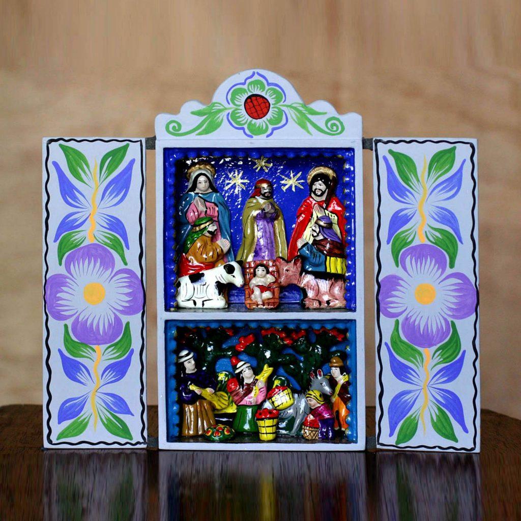 "Christmas Nativity Retablo Folk Art Handmade in Peru, ""Blue Christmas"""