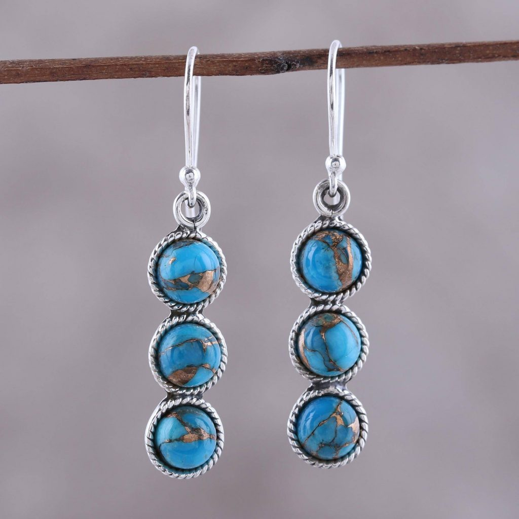 "Circular Sterling Silver and Composite Turquoise Earrings, ""Dancing Circles"""