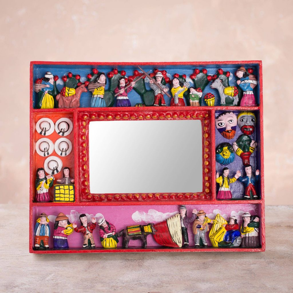 "Collectible Folk Art Wood Retablo Photo Frame (4x6), ""Tuna Harvest"""