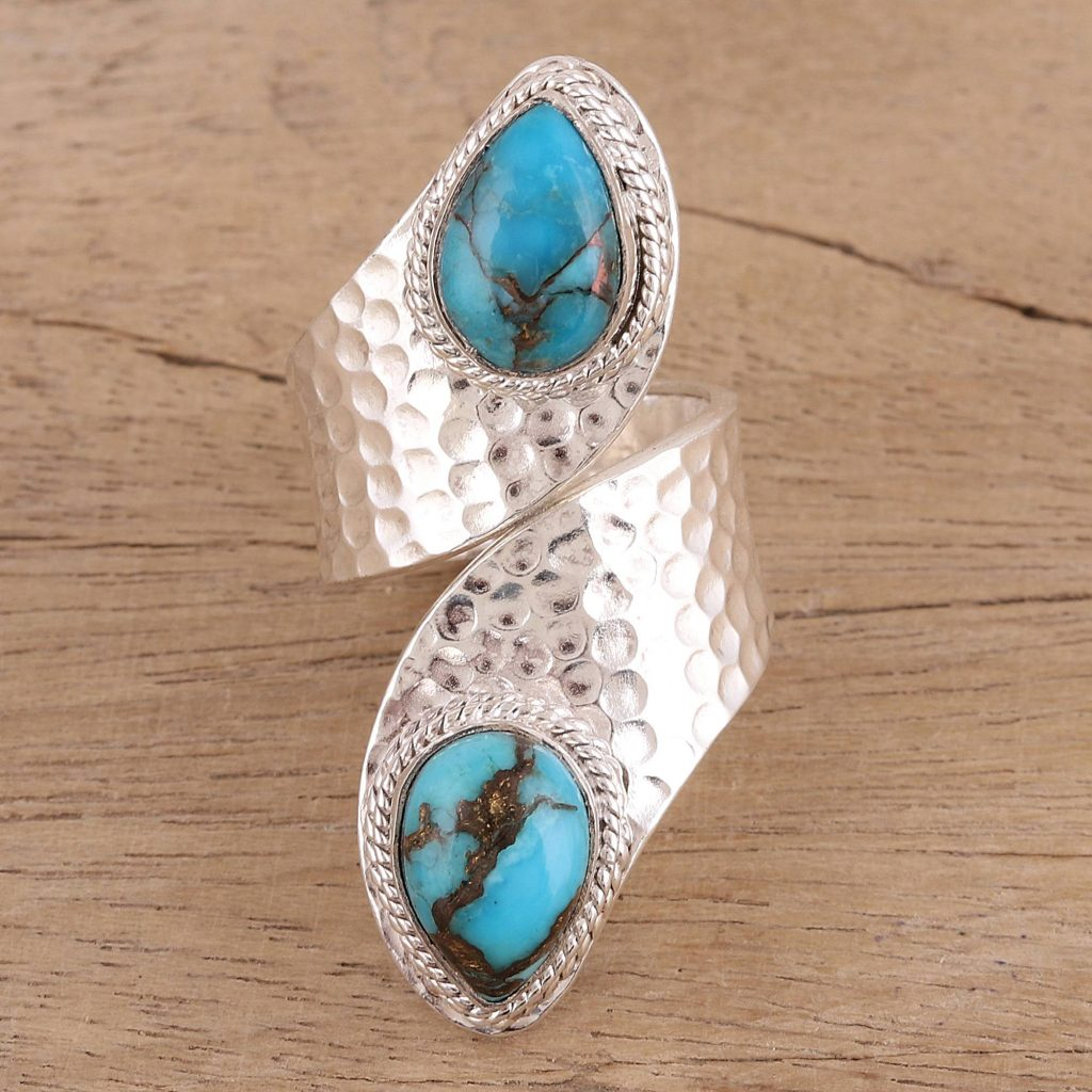 "Composite Turquoise and Sterling Silver Wrap Ring from India, ""Dreamy Duo"""