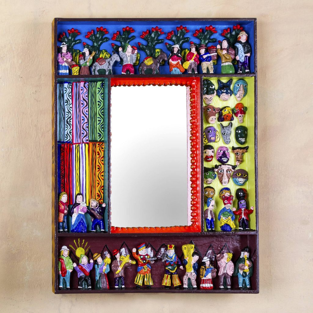 """Folk Art Wood Mirror with Folk Art Scenes, """"Scenes from the Andes"""""""