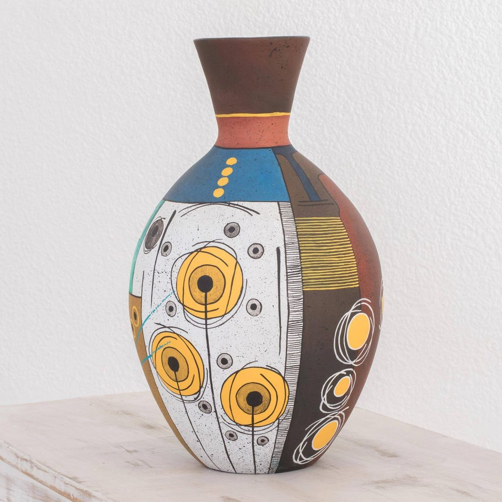 """Handmade Nicaraguan Ceramic Vase With Painted Art, """"Abstract City"""""""