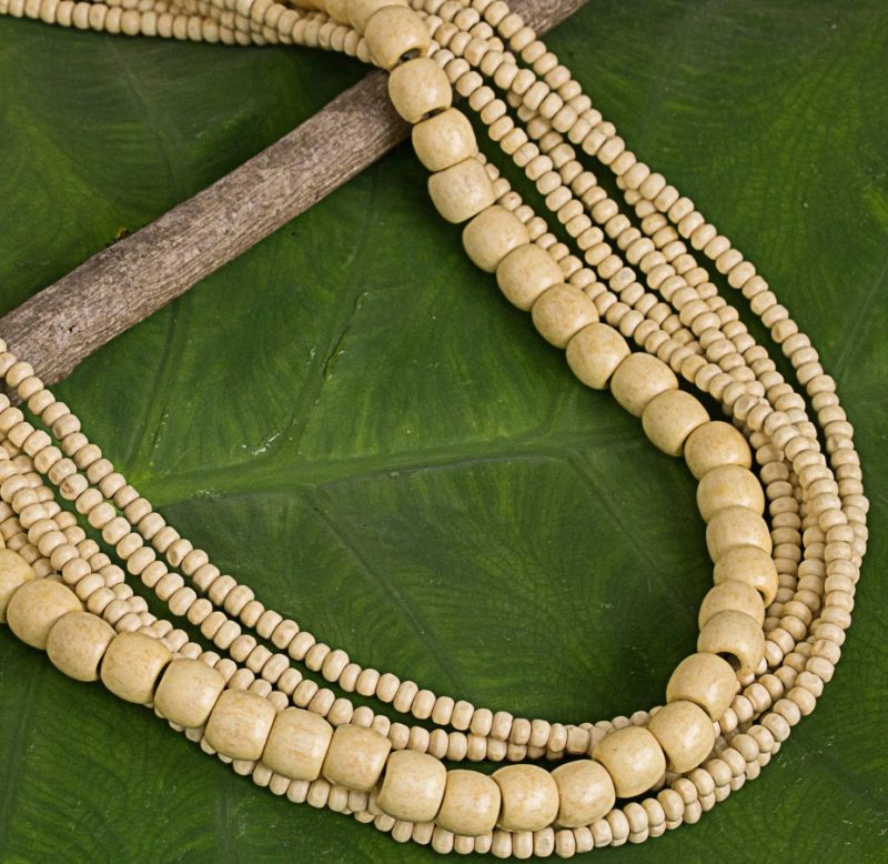 "Natural Wood Beaded Necklace, Handcrafted in Thailand, ""Hawaii Dance"""