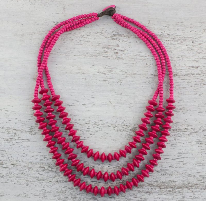 "Red Wood Beaded Strand Necklace from Thailand, ""Island Allure in Ruby"""