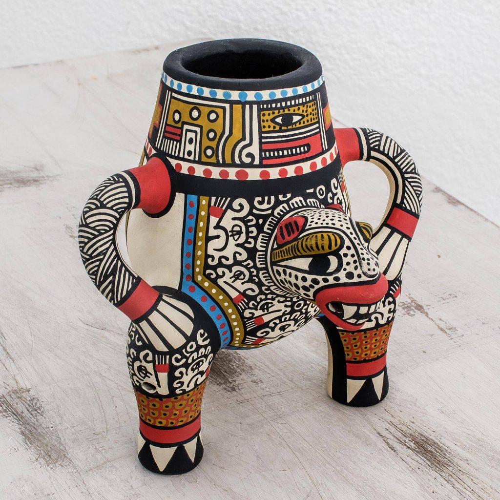 Jaguar King Archaeological Replica Handcrafted Ceramic Jaguar Vase