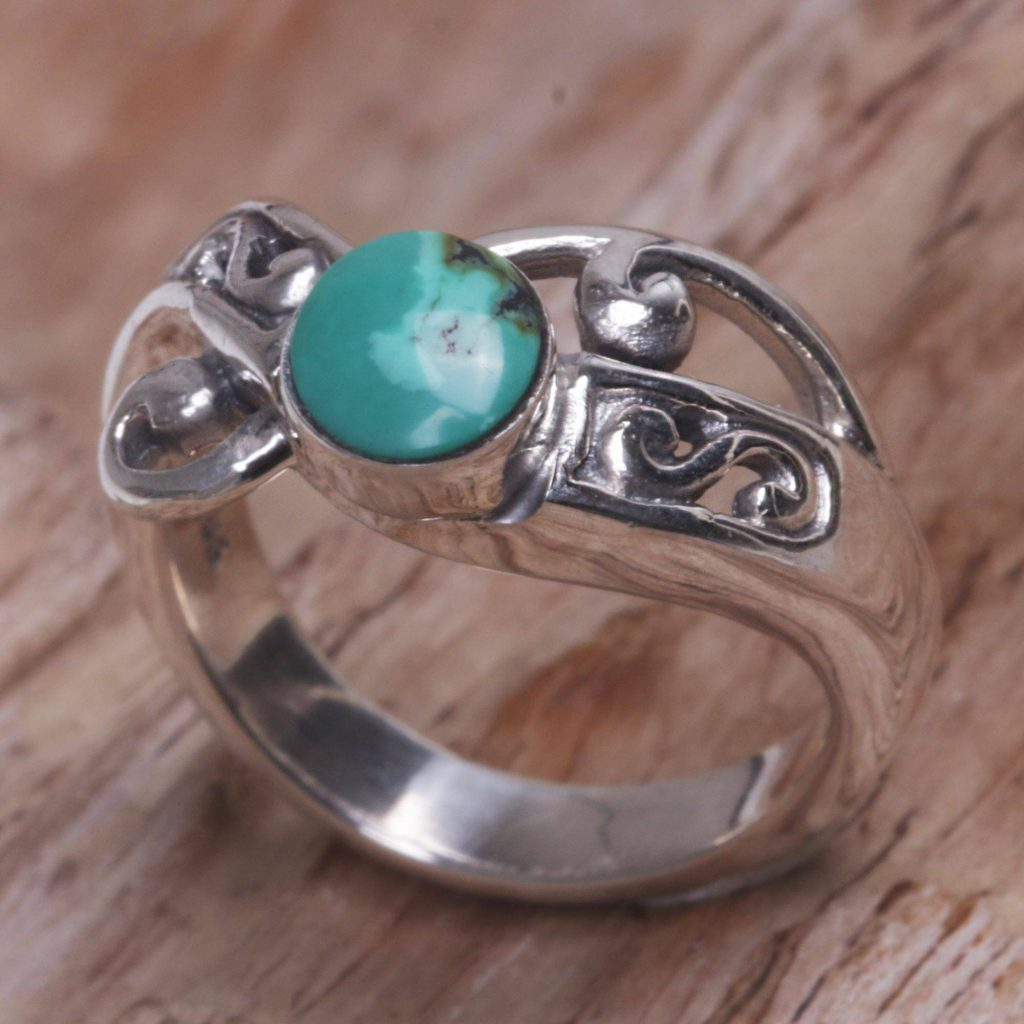 "Natural Turquoise and Sterling Silver Single Stone Ring, ""Turquoise Mystique"""