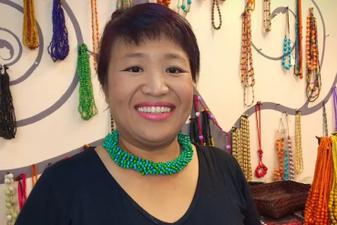 Thai beaded Wood Jewelry artisan who helps seniors: Sumalee Nawakul