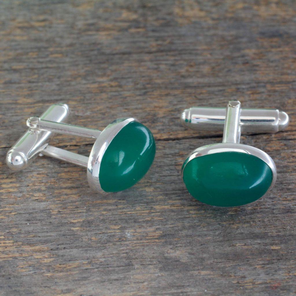 "Sterling Silver and Green Onyx Cufflinks, ""To Dream"""