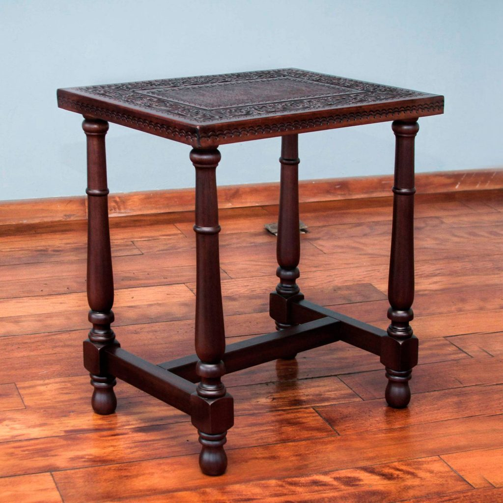 """Mohena Wood End Table with Brown Hand Tooled Leather, """"Brown Colonial Foliage"""" Entryway home decor"""