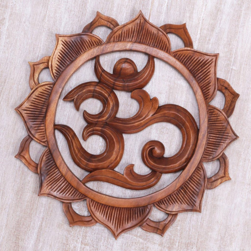 """Hand Carved Wood Floral Lotus Om Relief Panel from Bali, """"Om Petals"""" Entryway Home Decor"""
