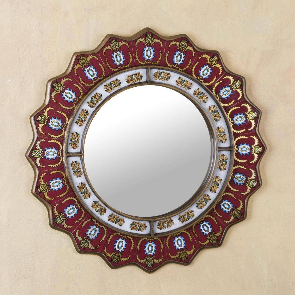 """Red Reverse-Painted Glass Wall Mirror from Peru, """"Ruby Medallion"""" Entryway Home Decor"""