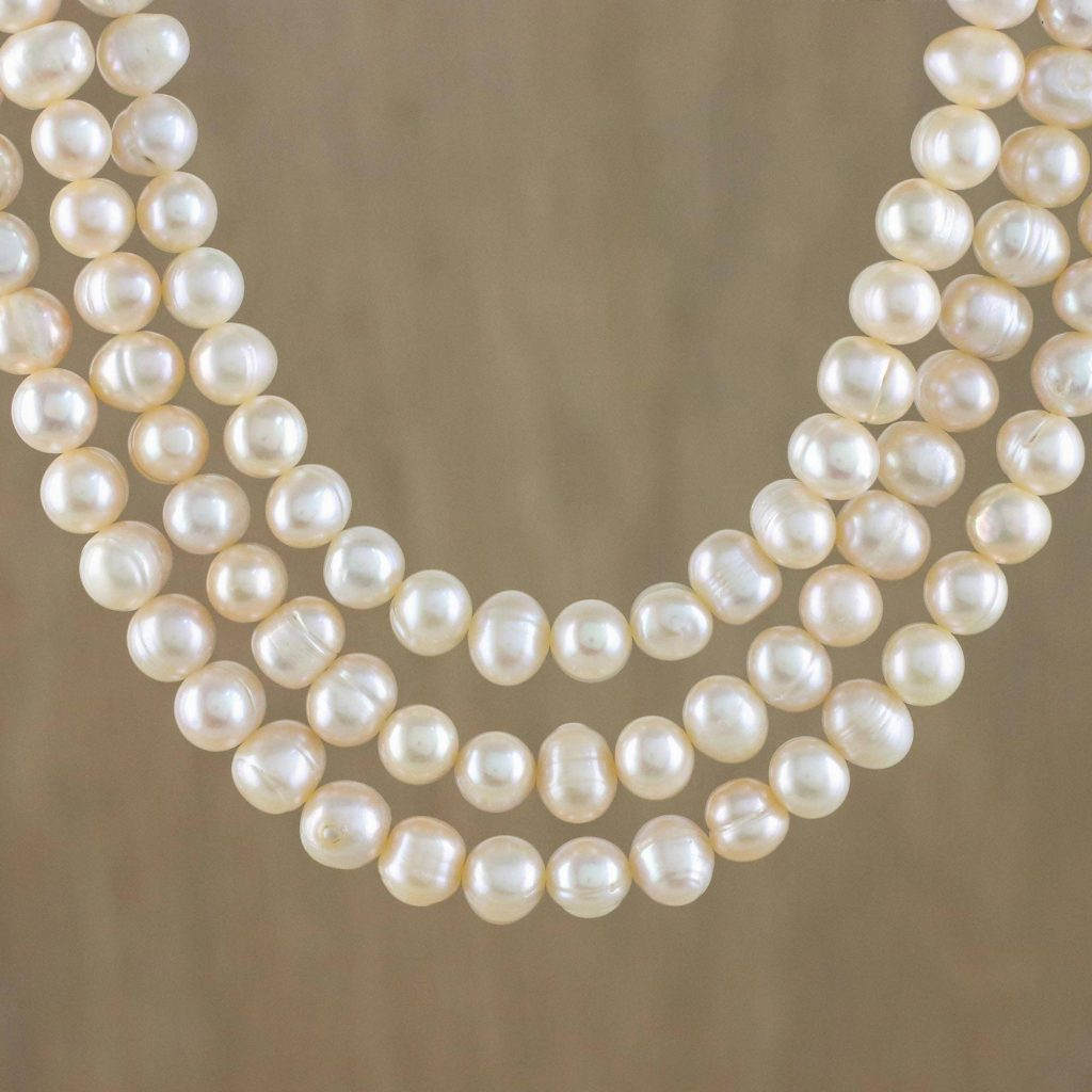 "Bridal Jewelry Thai Cultured Peach Pearl Triple Strand Necklace, ""Triple Halo"""