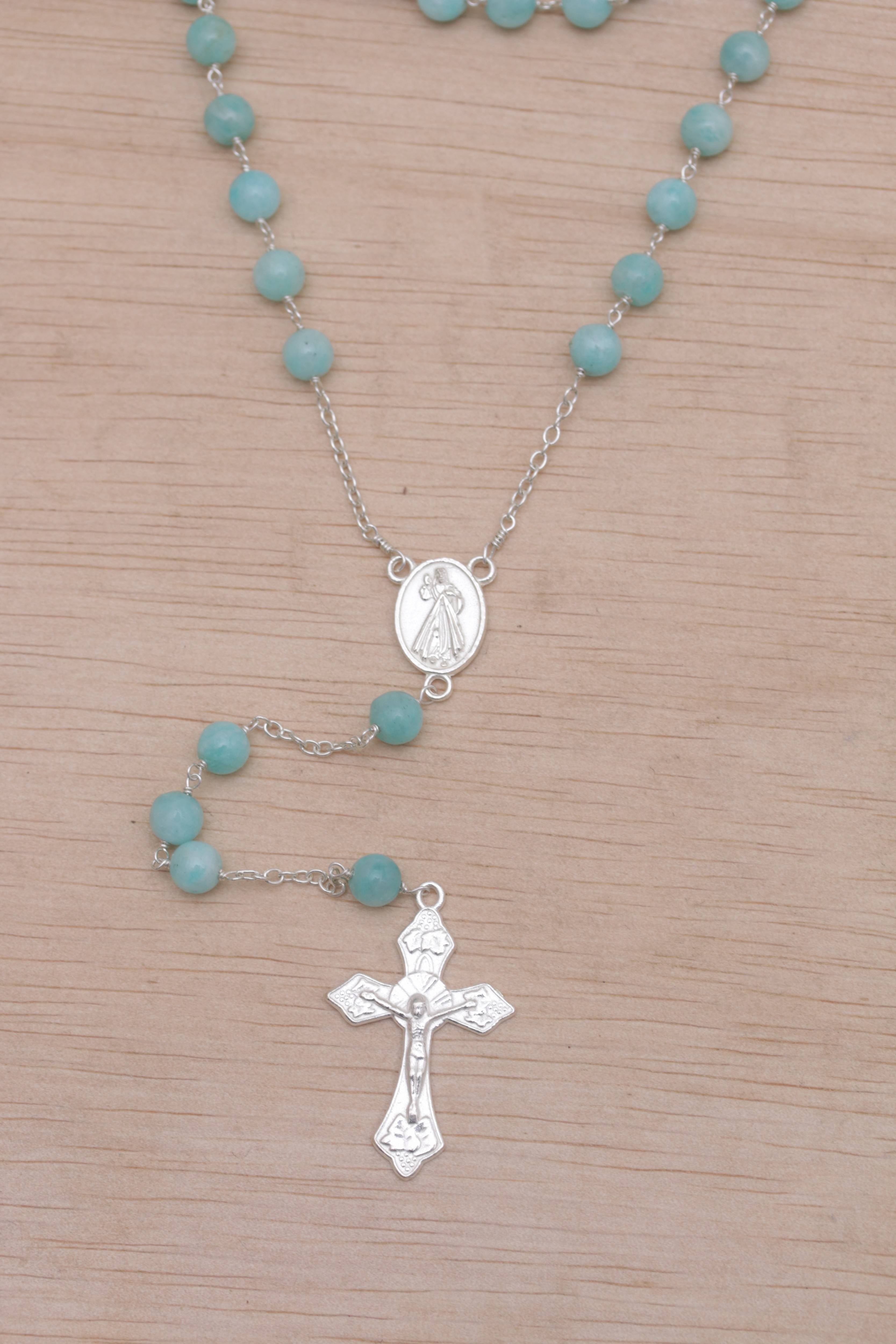 """Handmade Amazonite and Sterling Silver Rosary Y-Necklace, """"Blessed Mary"""""""