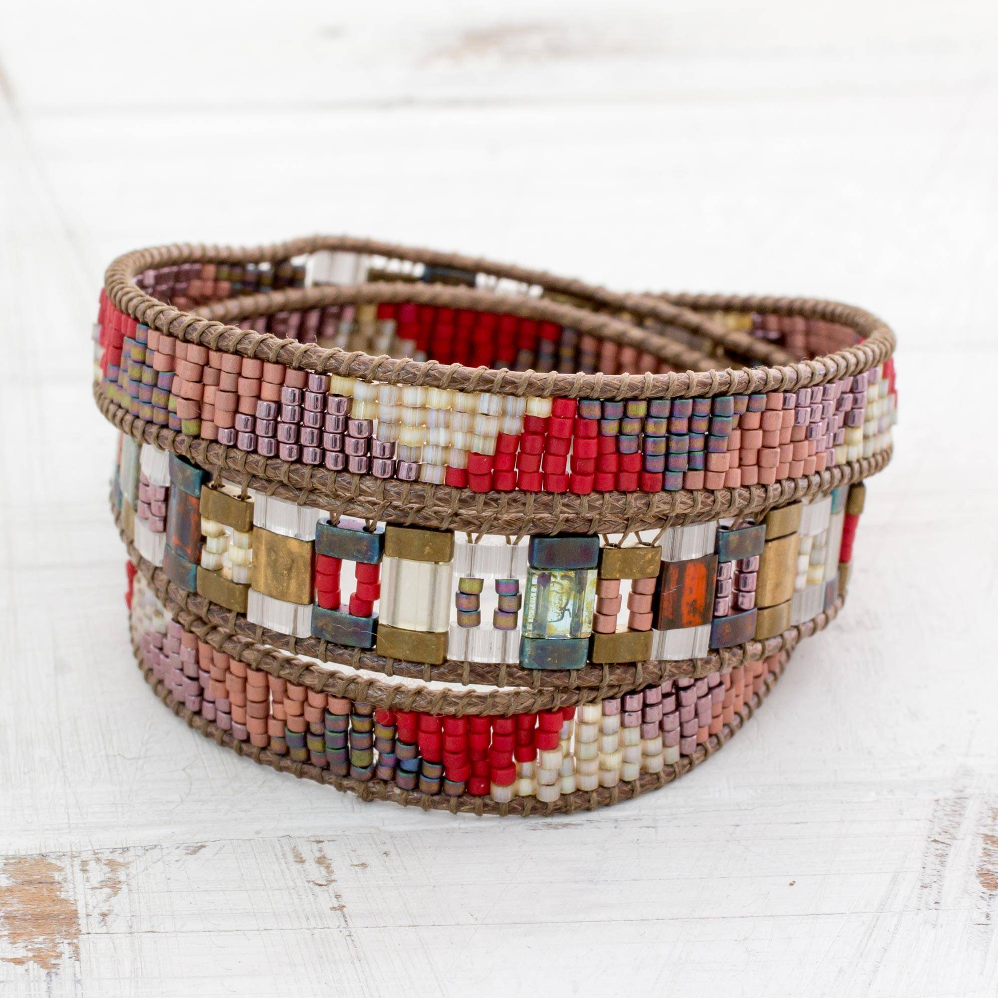 """Colorful Glass Beaded Wrap Bracelet from Guatemala, """"Earth's Fire"""""""