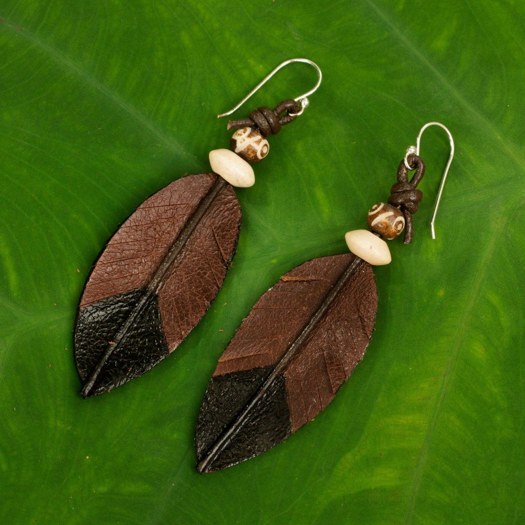 """Fair Trade Handmade Leather Earrings from Thailand, """"Leaf Feather"""""""