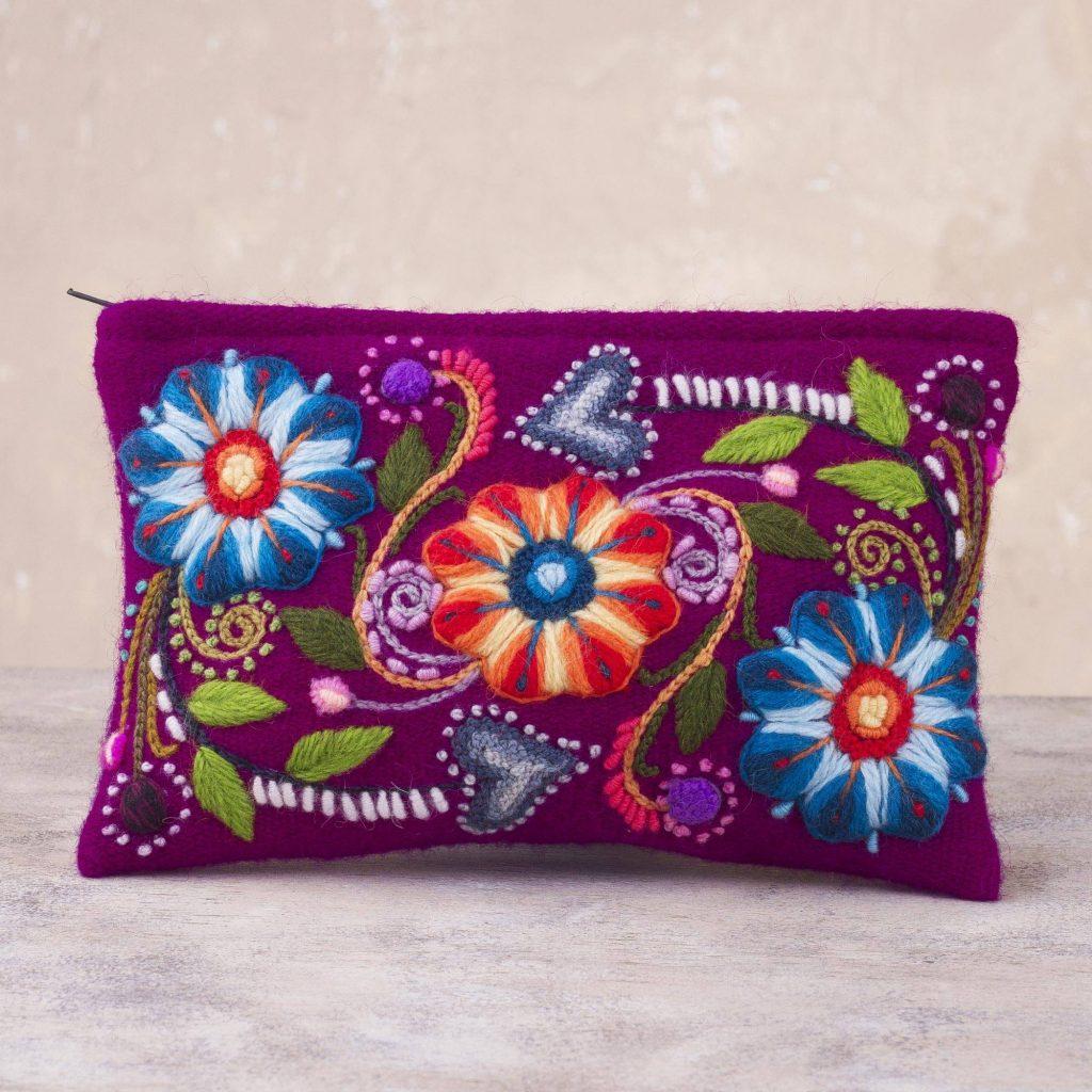 "Floral Embroidered Alpaca Blend Clutch in Magenta from Peru, ""Magenta Bouquet"""