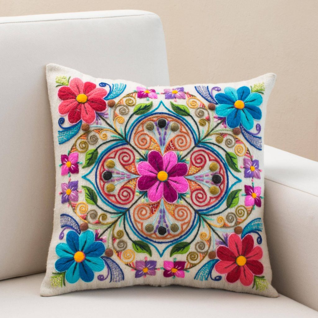 """Floral Embroidered Wool and Alpaca Blend Cushion Cover, """"Floral Andean Kaleidoscope"""""""