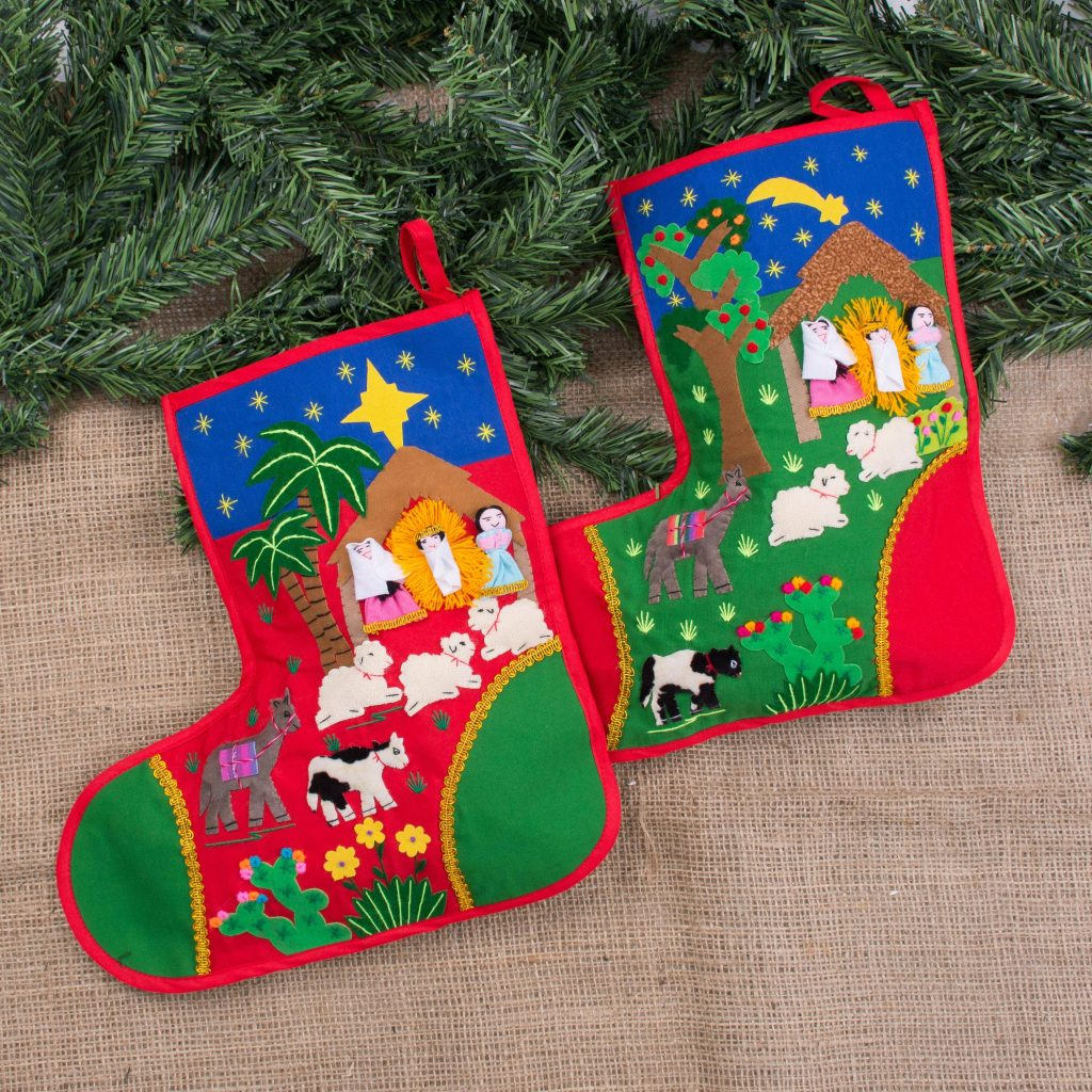"Folk Art Cotton Applique Christmas Stockings (Pair), ""Holy Night"""