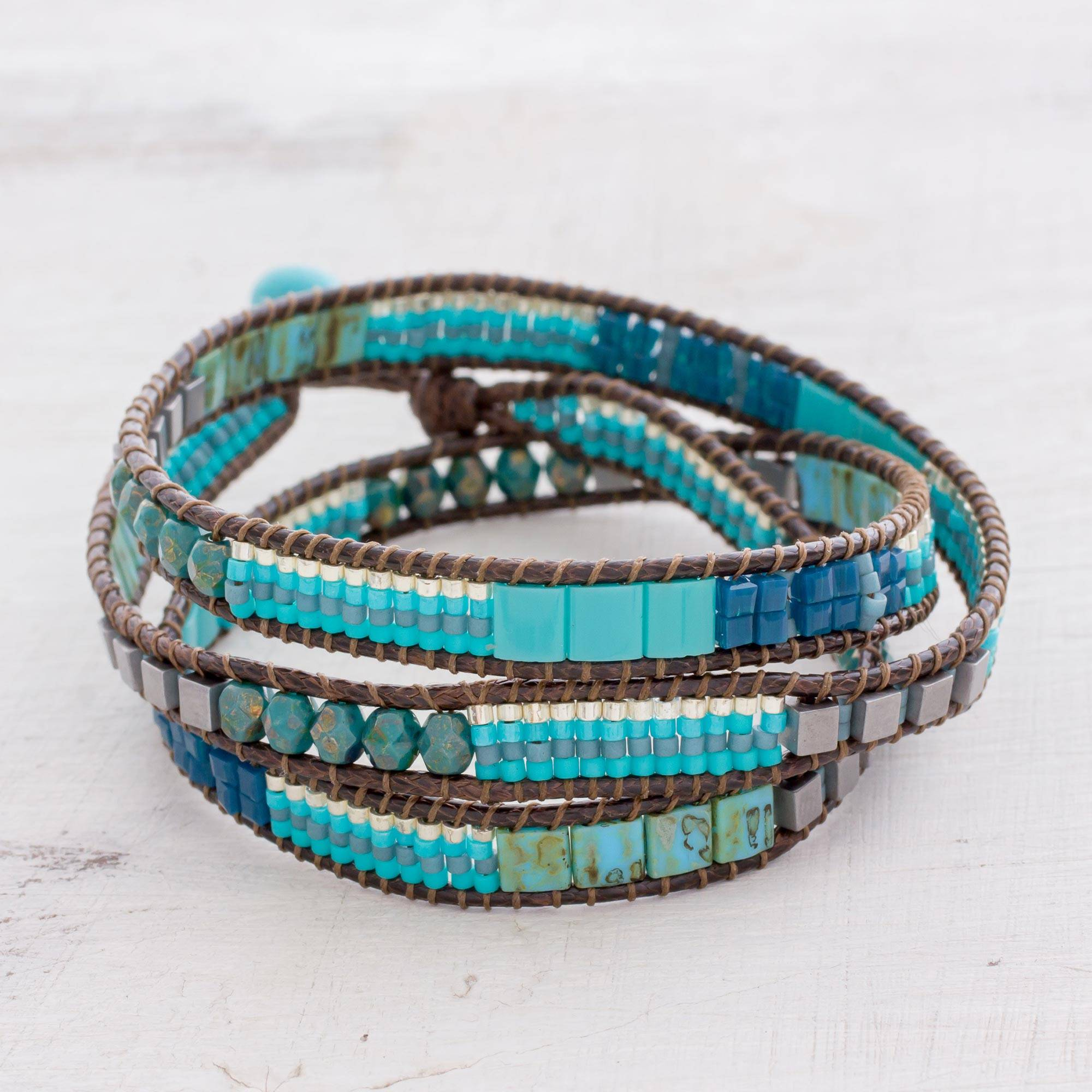 "Glass Beaded Wrap Bracelet in Turquoise from Guatemala, ""Mayan Monolith"""