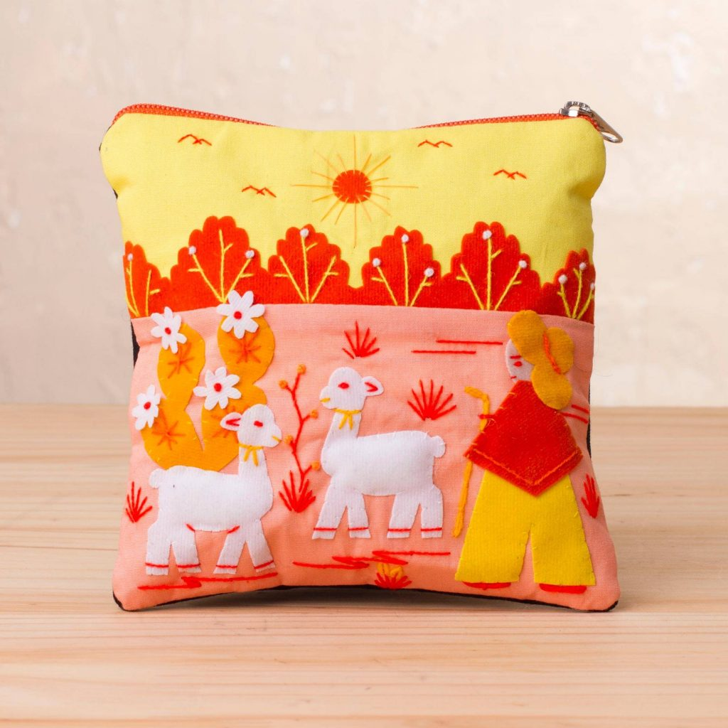 """Handcrafted Cotton Blend Patchwork Cosmetic Case from Peru, """"Happy Herd"""""""