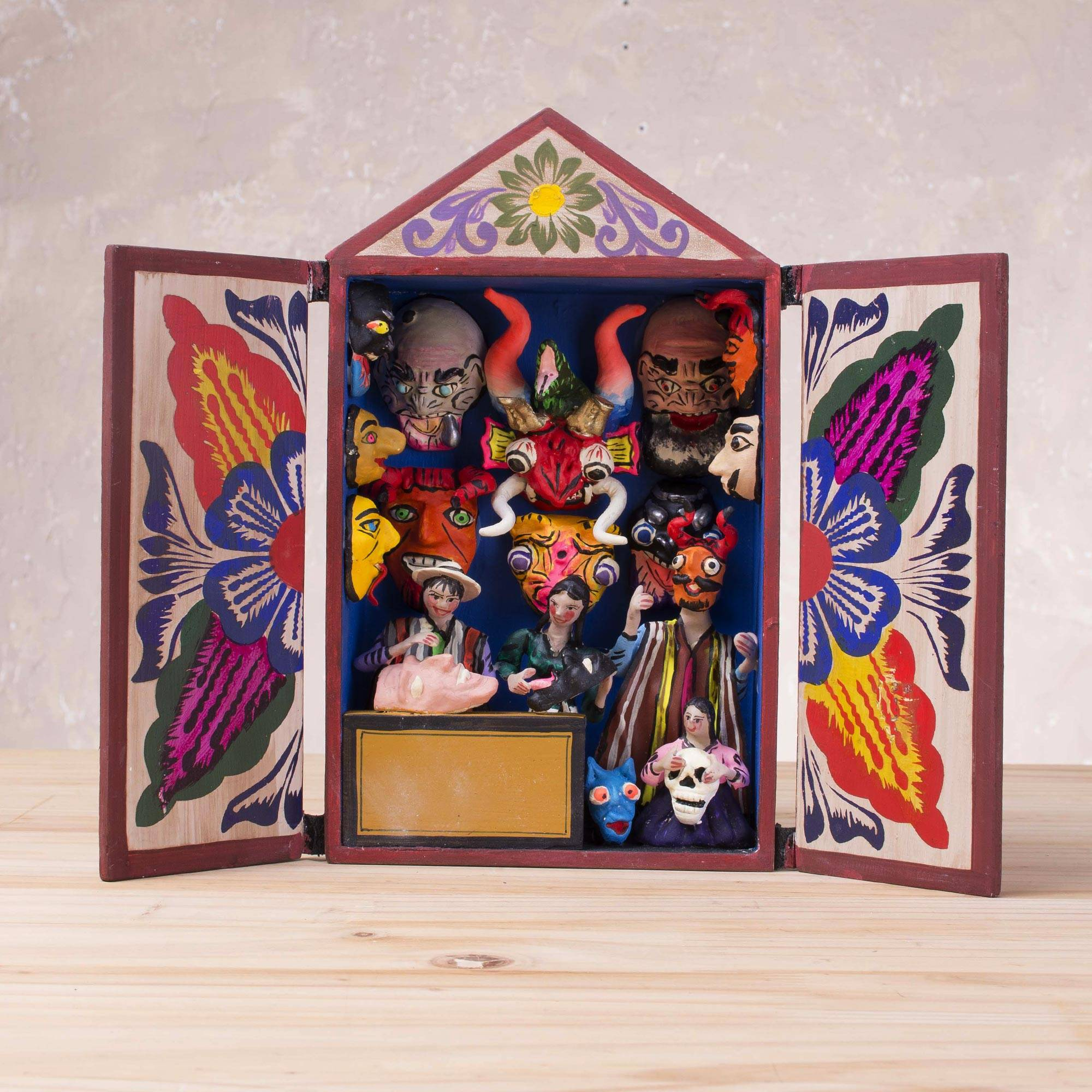 Handcrafted Plaster And Wood Retablo From Peru Masks Of Peru Novica