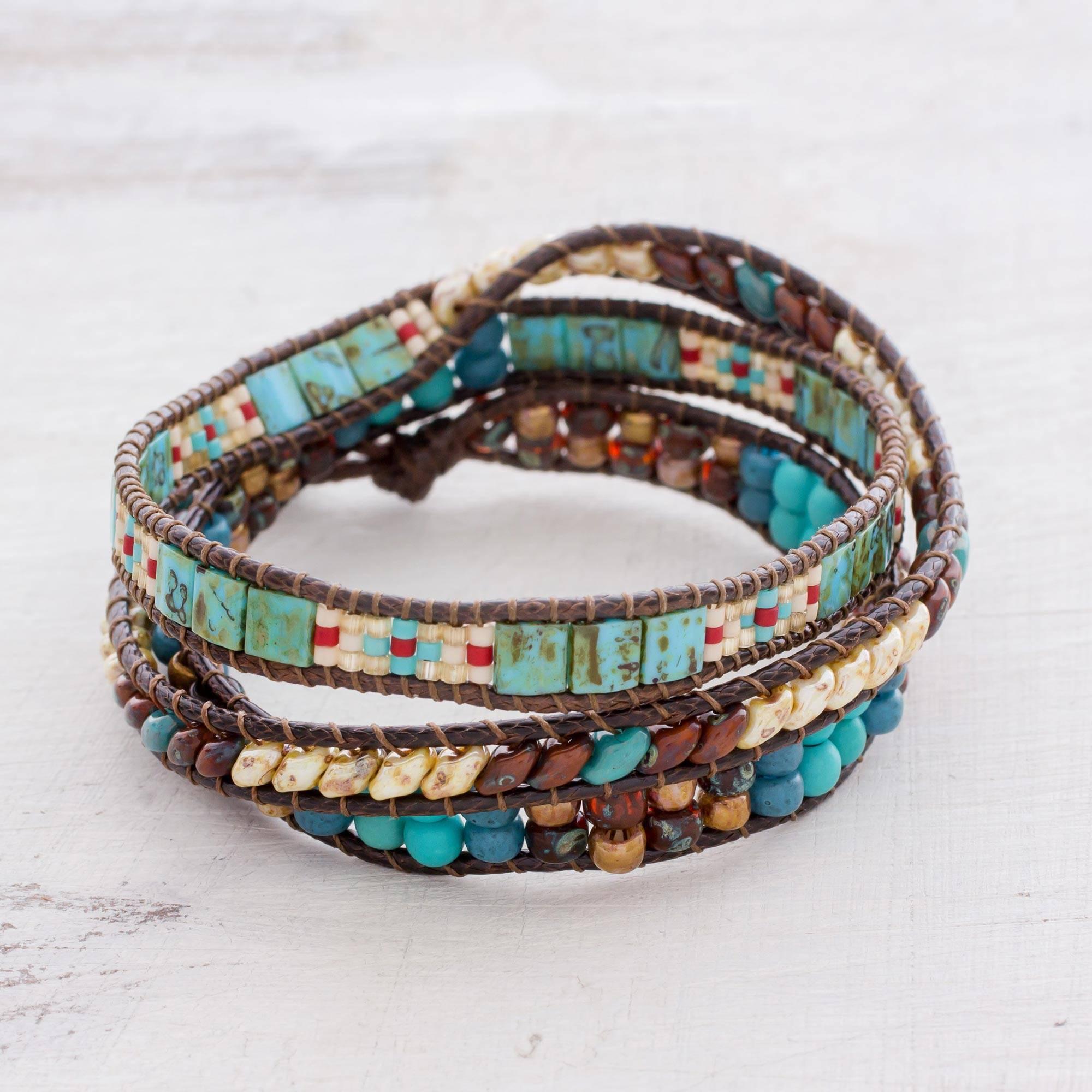 "Handmade Glass beaded Wrap Bracelet from Guatemala, ""Santiago Atitlan Adventure"""
