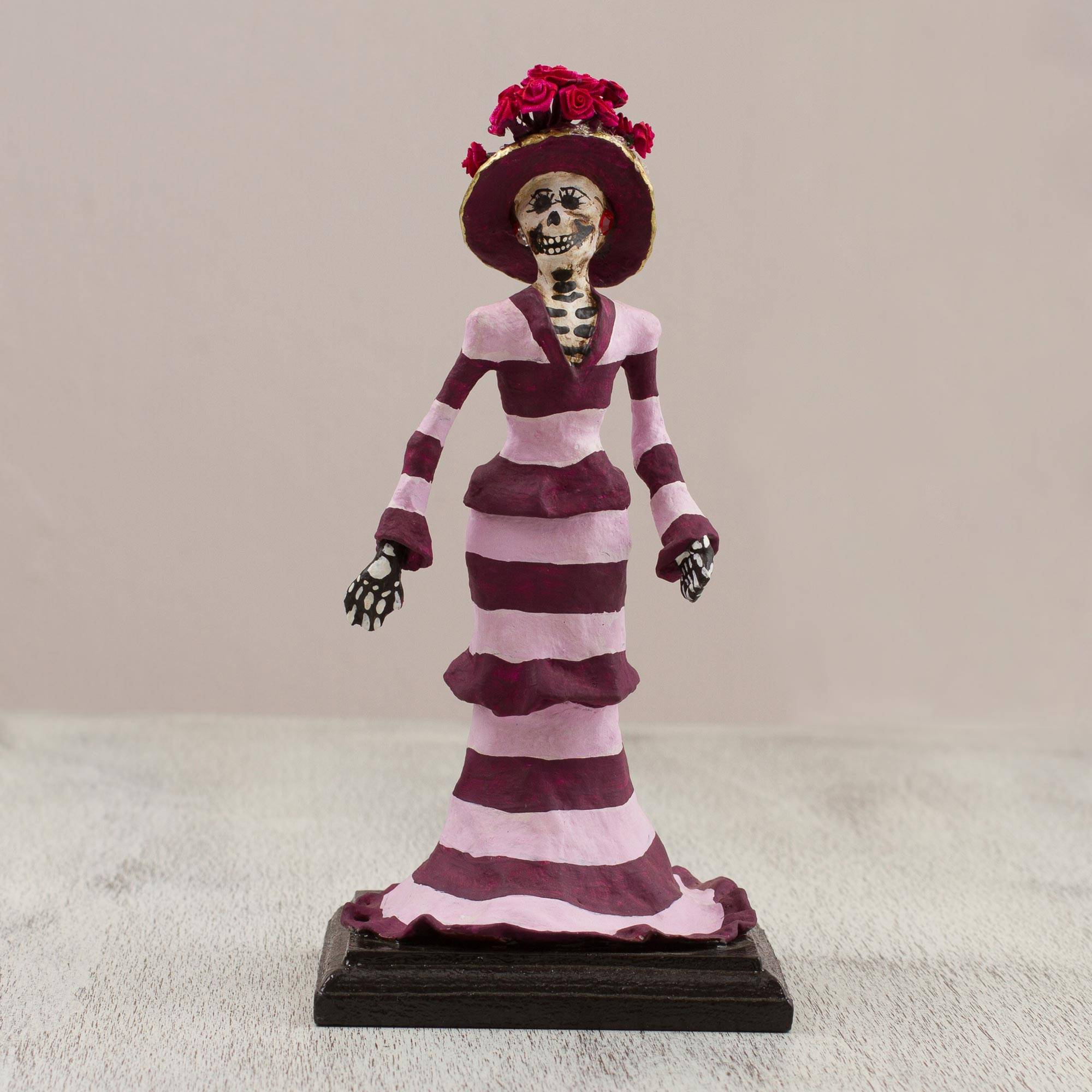 "Papier Mache Catrina Sculpture with Stripes from Mexico, ""Striped Catrina"""