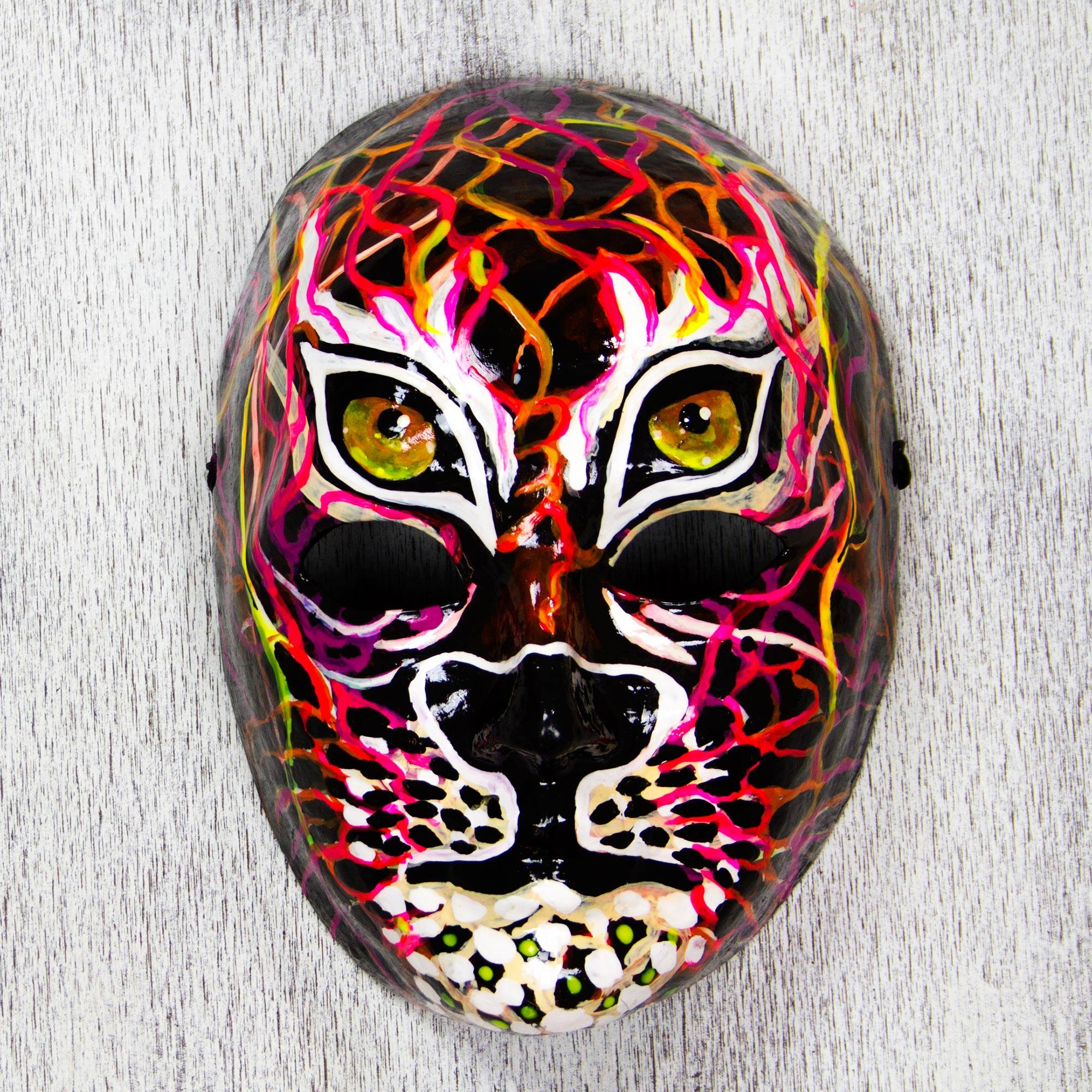 "Signed Papier Mache Jaguar Mask from Mexico, ""Power of the Jaguar"""