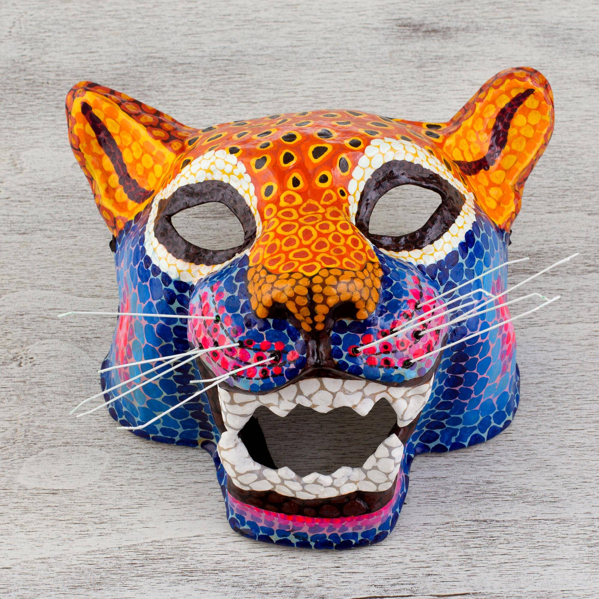 Signed Papier Mache Spotted Jaguar Mask from Mexico, Oceotl