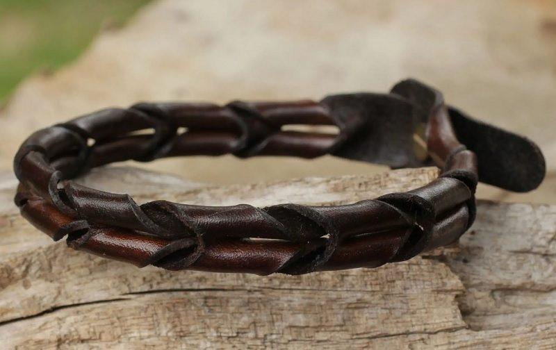 """Men's Unique Braided Leather Bracelet, """"World"""""""