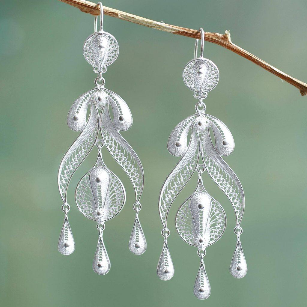 """Peruvian Fine 950 Silver Chandelier Earrings, """"Filigree Teardrops"""" Bridal Jewelry"""