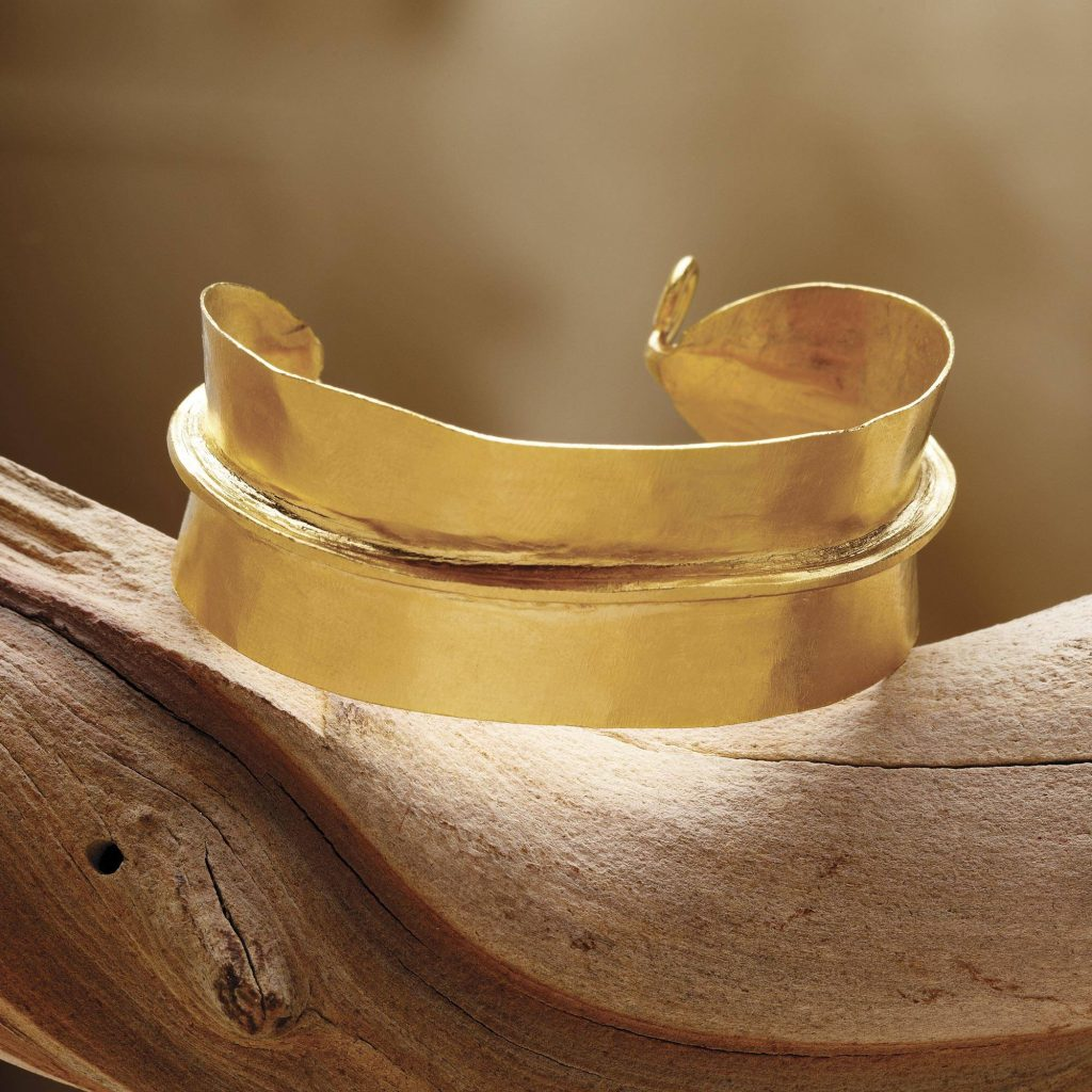 Gold plated cuff bracelet, 'Fulani Pride' Bridal Jewelry