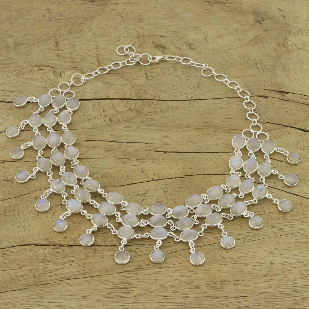 """Sterling Silver Rainbow Moonstone Statement Necklace, """"Ice"""" Bridal Jewelry"""