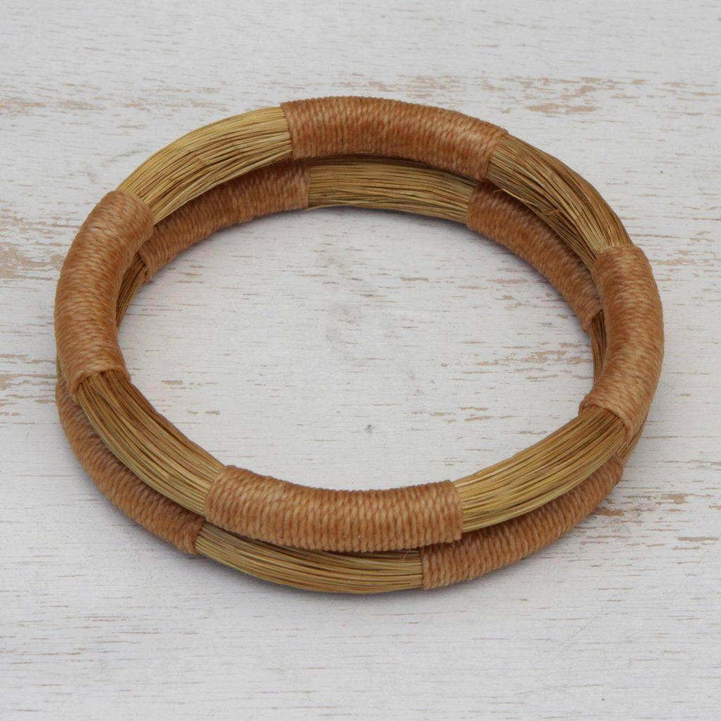 """Pair of Handcrafted Golden Grass Bangle Bracelets, """"Jalapão Equilibrium"""""""