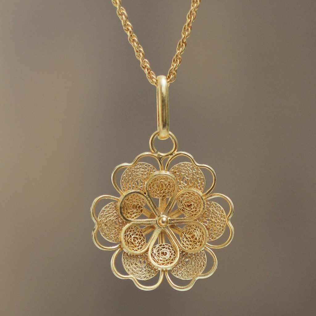 "Gold Plated Silver Peruvian Filigree Flower Necklace, ""Yellow Rose"" Spring Jewelry"
