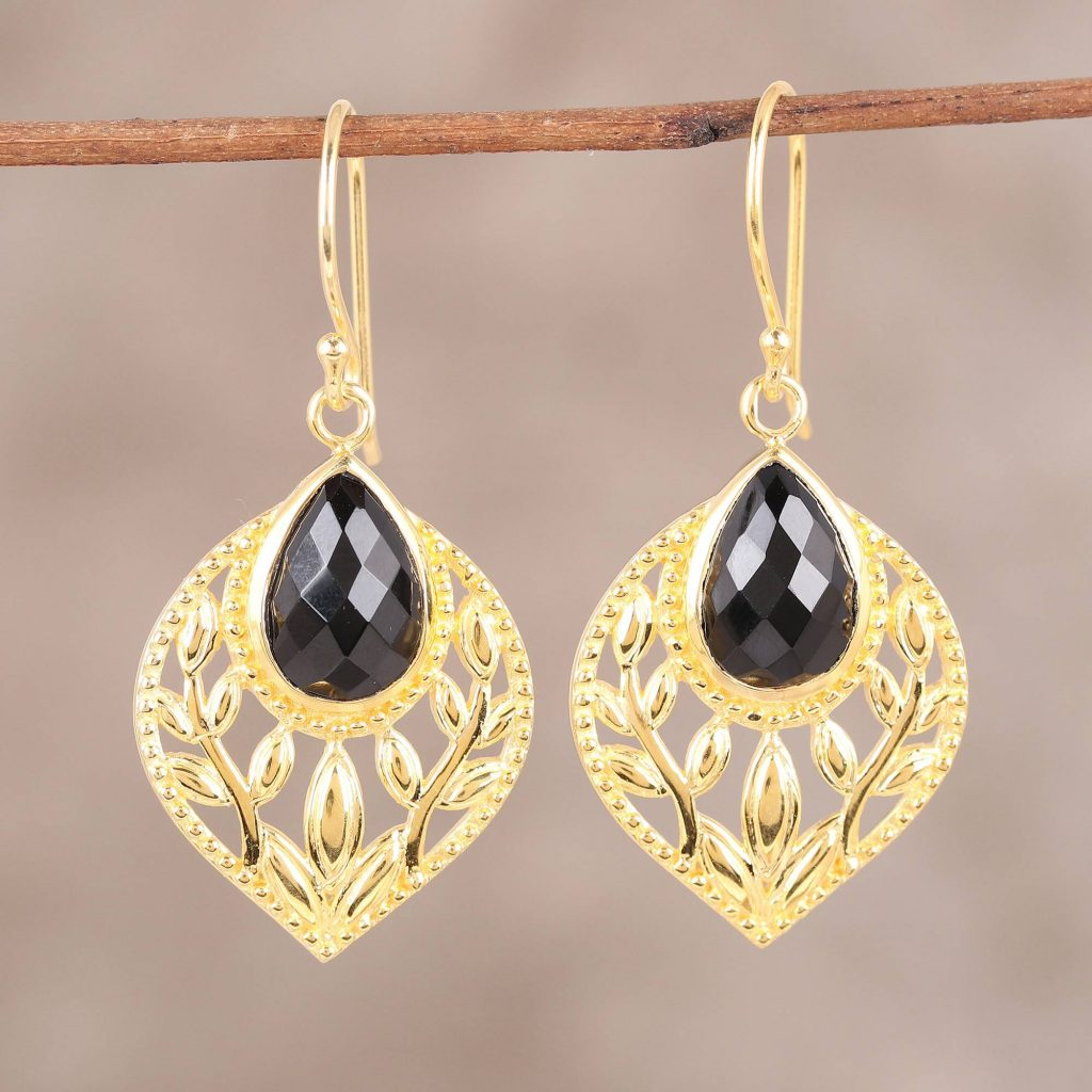 "Gold Plated Faceted Black Onyx Openwork Leaf Dangle Earrings, ""Glimmering Leaves"" Spring Jewelry"