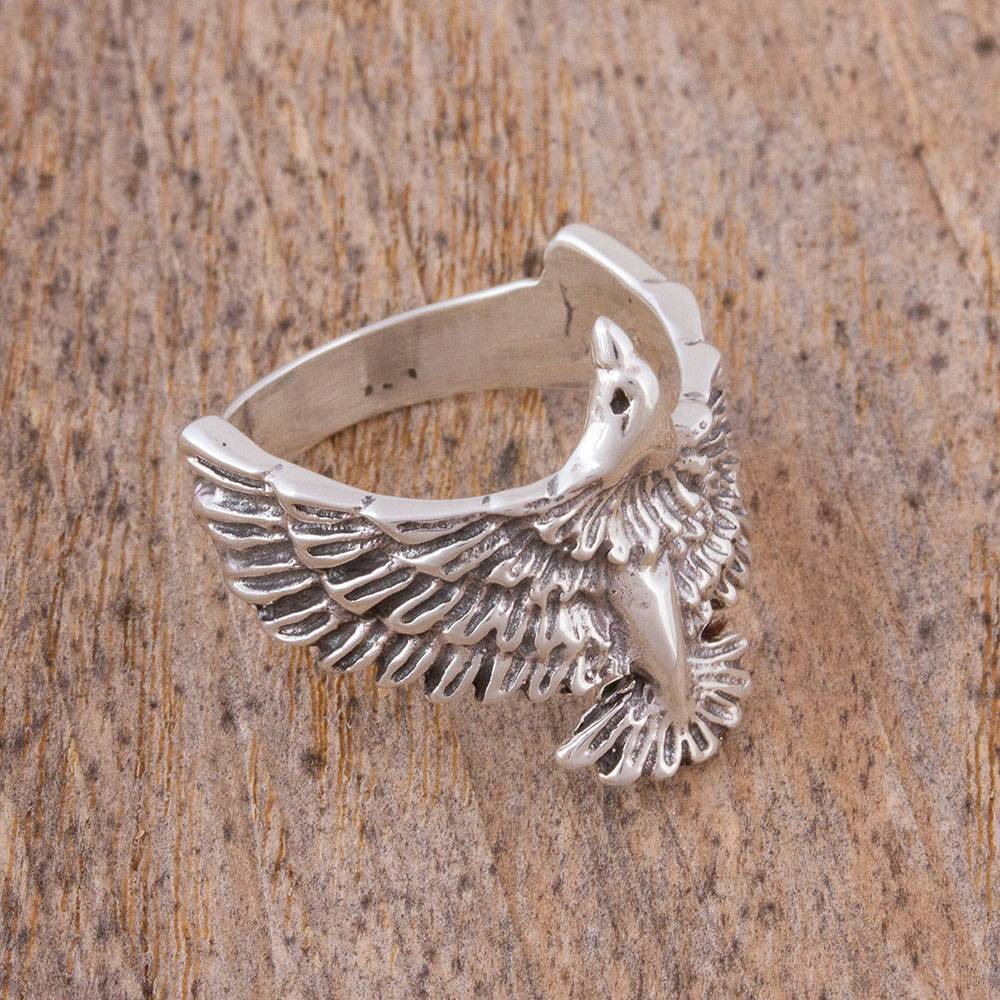 "Men's Sterling Silver Eagle Ring from Mexico, ""Bird in Flight"" Spring Jewelry"