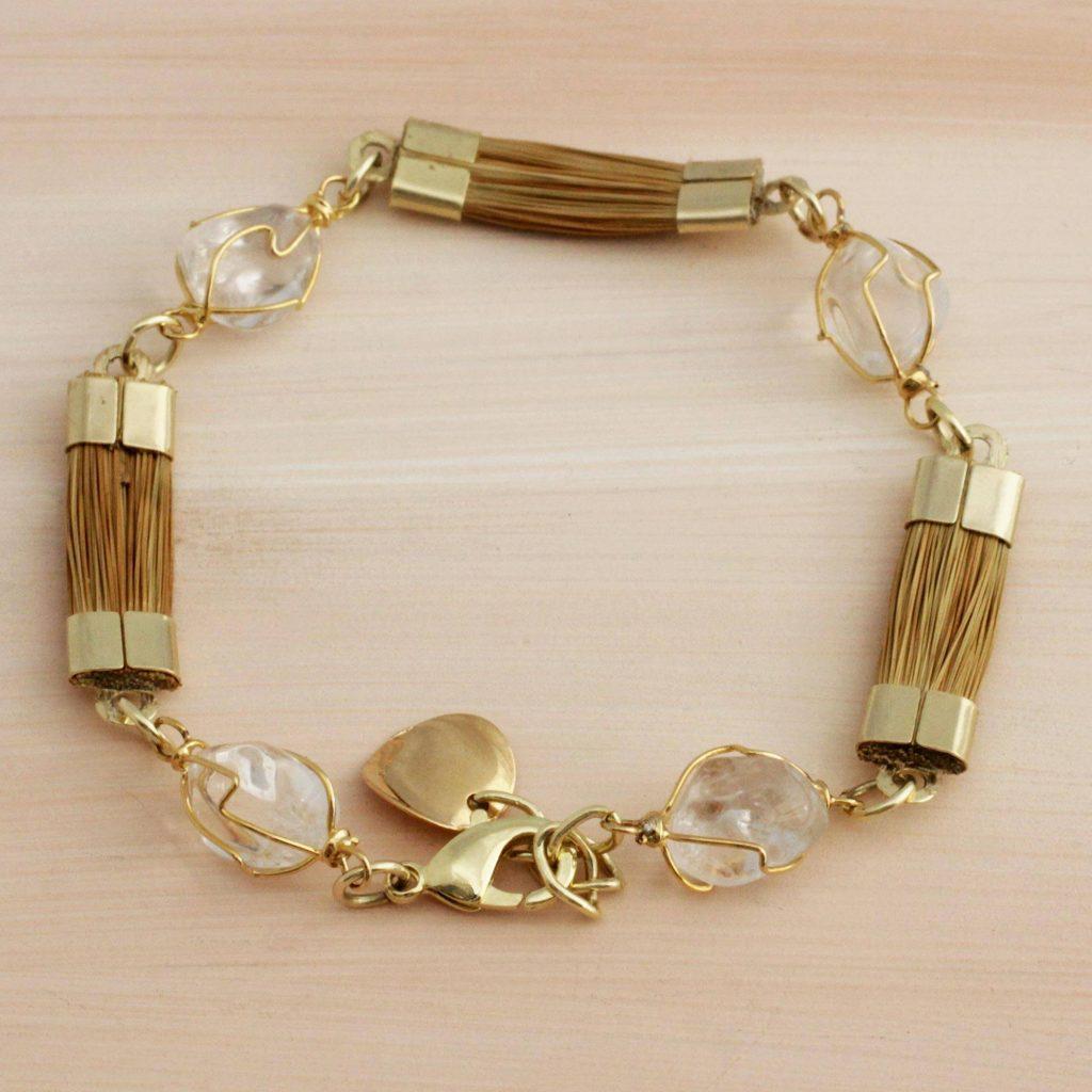 "Golden Grass and Clear Quartz Link Bracelet, ""Grassland"" Spring Jewelry"