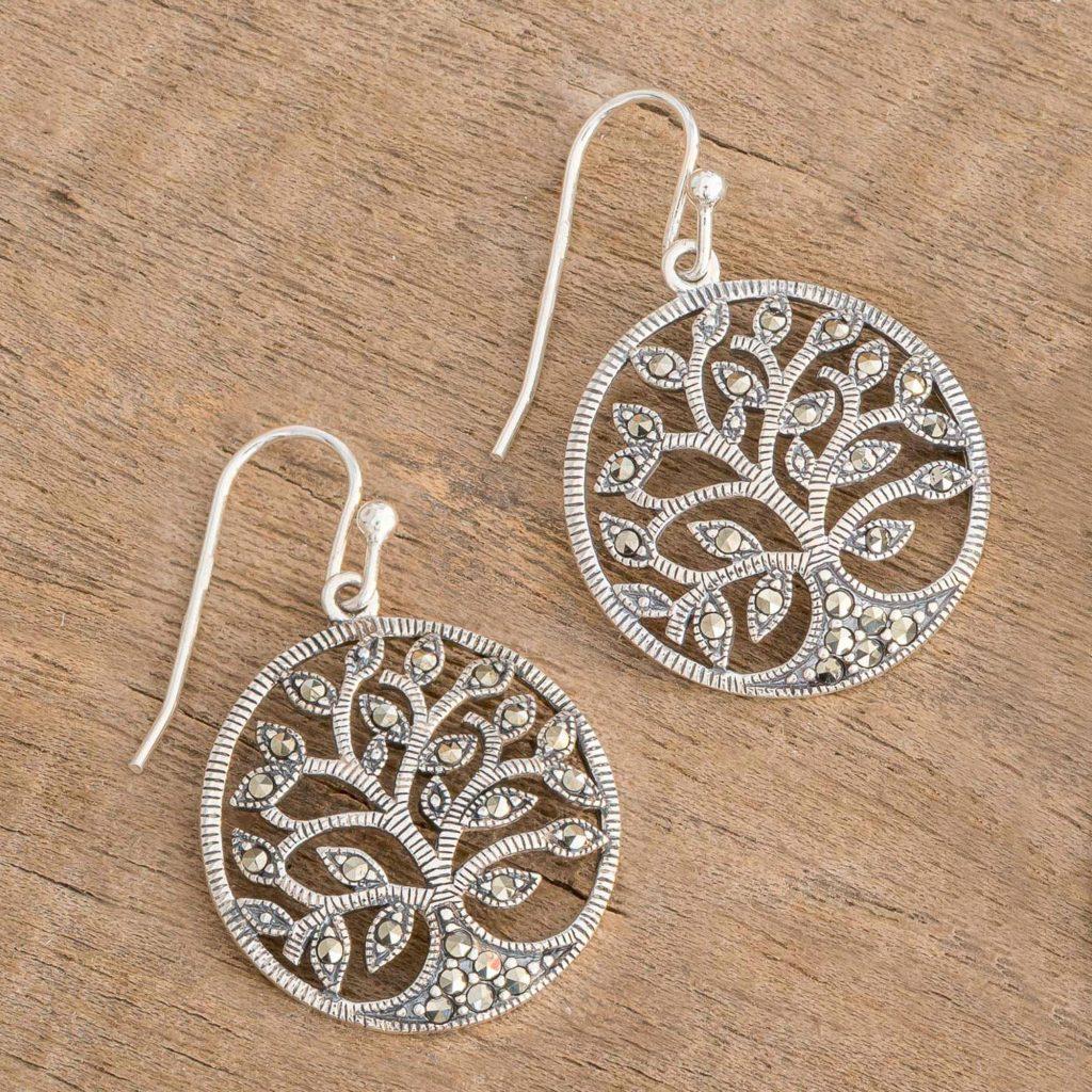 "Irish Tree of Life Sterling Silver Earrings with Marcasite, ""Irish Tree of Life"" Spring Jewelry"