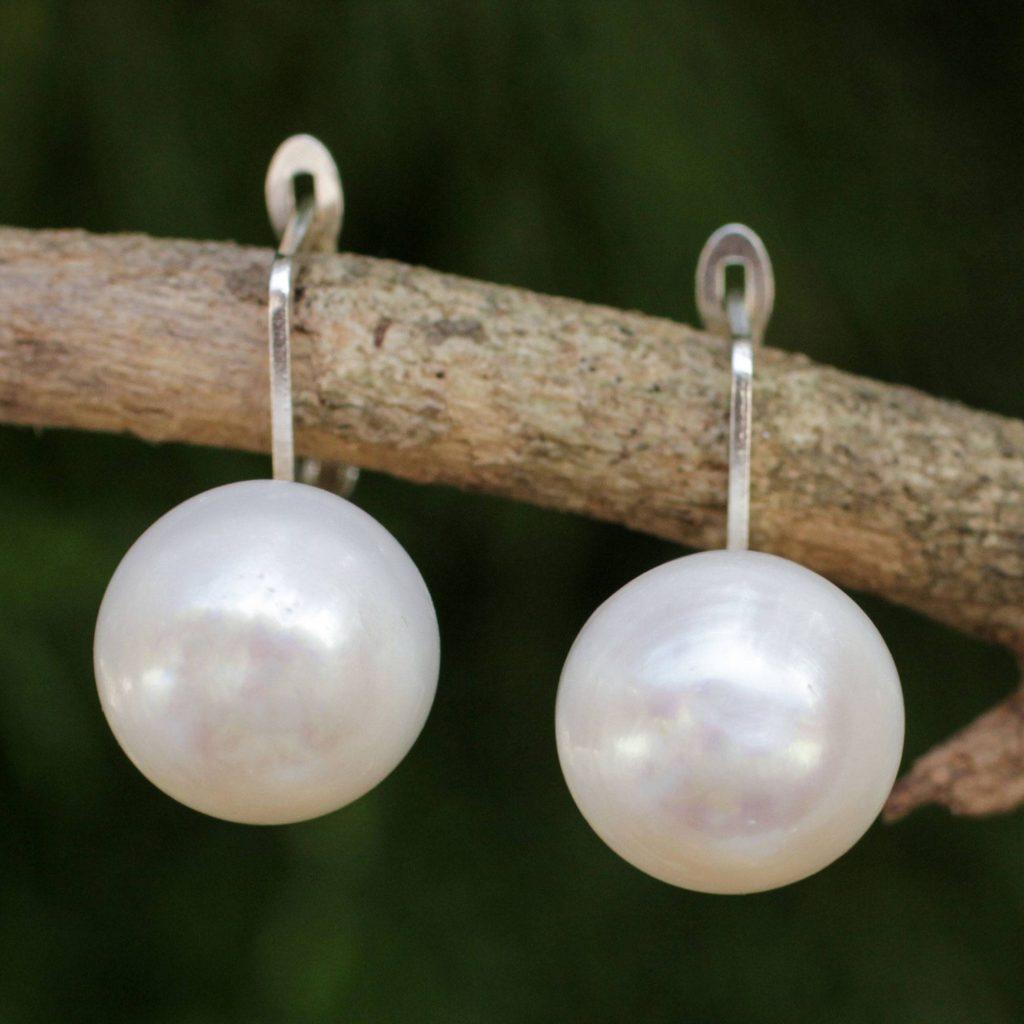 "Fair Trade Cultured Freshwater Pearl Drop Earrings, ""Pale Moon' Bridal Jewelry"
