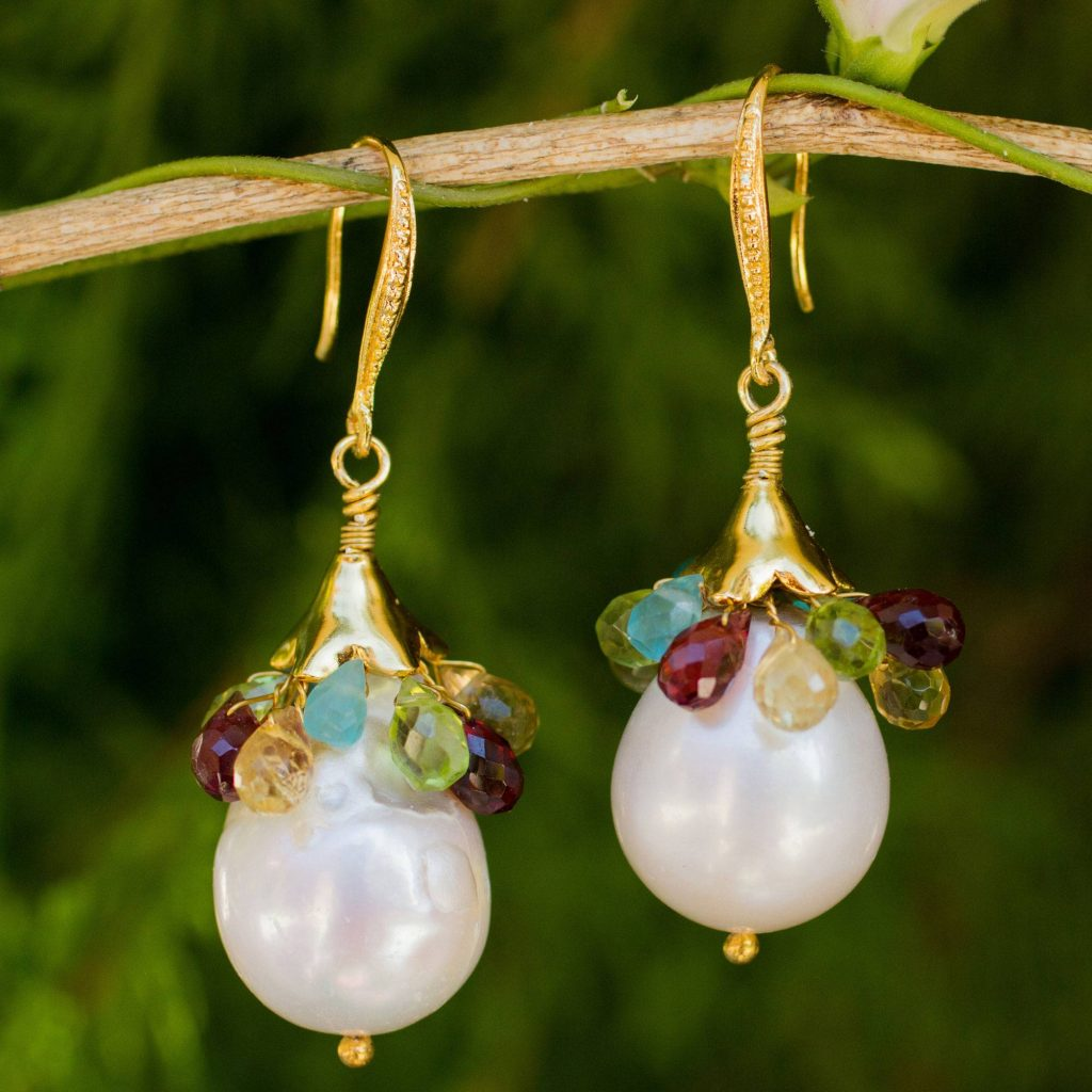 """Multi Gems and Baroque Pearls on Gold Plated Earrings, """"Rainbow Lily"""" Bridal Jewelry"""