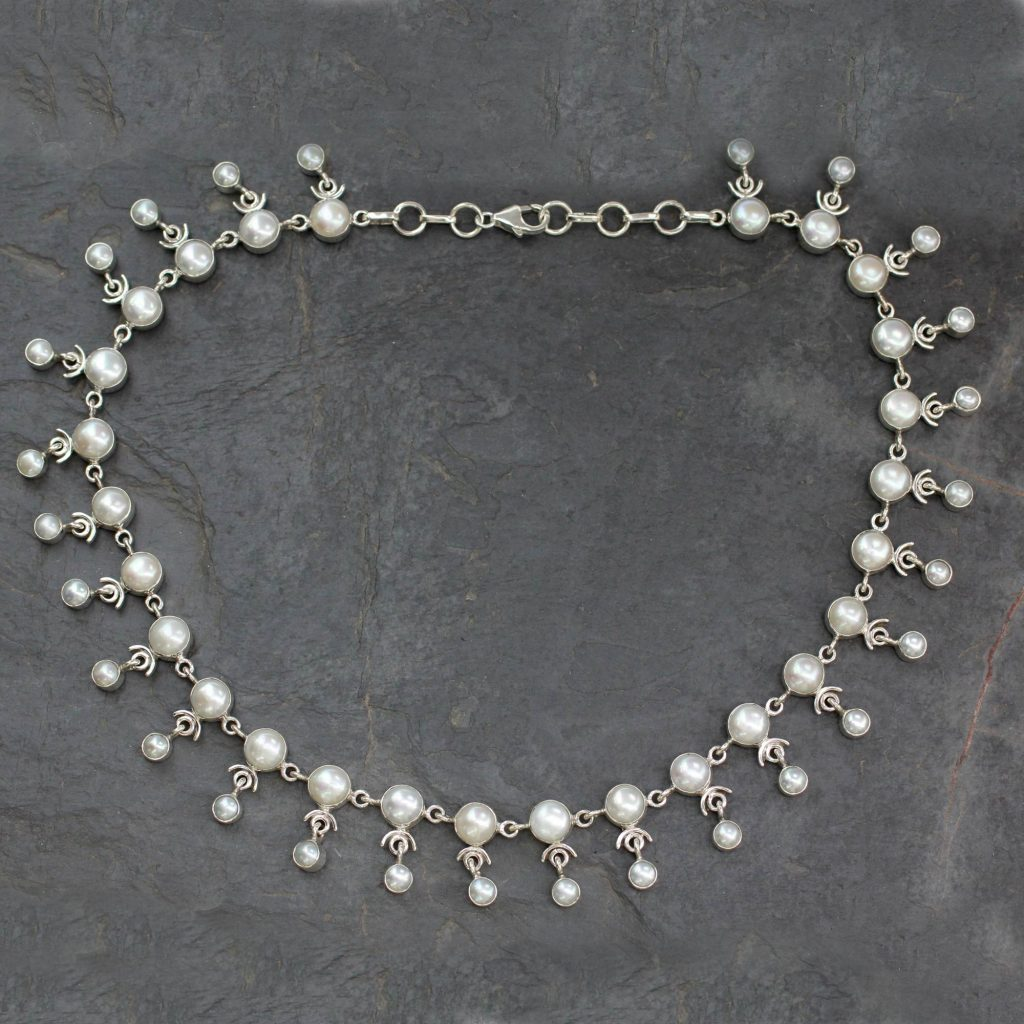 """Bridal Jewelry Sterling Silver Pearl Waterfall Necklace, """"Gratitude"""""""